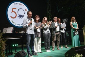 Cesare Avesani Zaborra sul palco con il suo staff, da sx_ Camillo Sandri, Katia Dell_Aira, Caterina Spiezio, Maria Ordinario